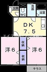 岡山県倉敷市児島下の町1丁目の賃貸アパートの間取り