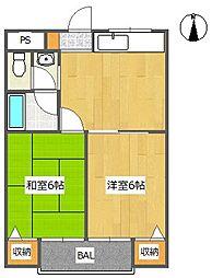 ハムロハイツ杉田 B棟[2階]の間取り