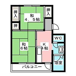 ビレッジハウス杉焼2[2階]の間取り