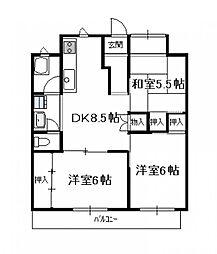 第6シャトーモリオカ(3DK)[502号号室]の間取り