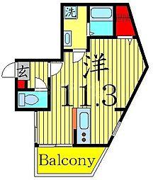 ツリーデン綾瀬 5階ワンルームの間取り