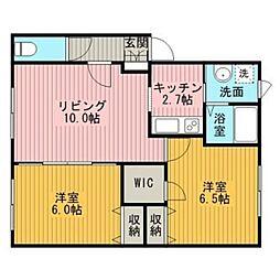 フォレスト元江別II[2階]の間取り