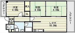 大阪府大阪市生野区巽西1丁目の賃貸マンションの間取り