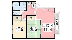 兵庫県姫路市飾磨区英賀宮台の賃貸アパートの間取り