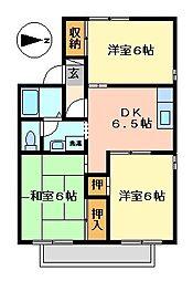 静岡県伊東市吉田の賃貸アパートの間取り