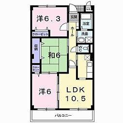 エステイト3[4階]の間取り