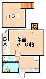 福岡県福岡市城南区茶山6丁目の賃貸アパートの間取り