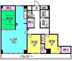 クラリス阪神西宮[2階]の間取り