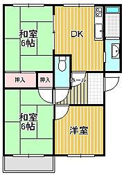 ラ・フロール浜寺[2階]の間取り