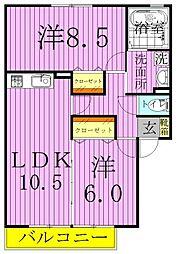 エーデルハイムASAKA−B[2階]の間取り
