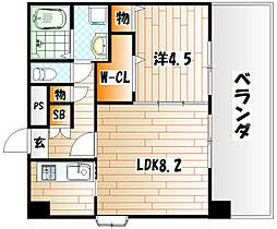 フェリシエ三萩野[2階]の間取り