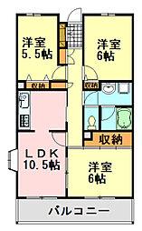千葉県千葉市中央区白旗3丁目の賃貸マンションの間取り