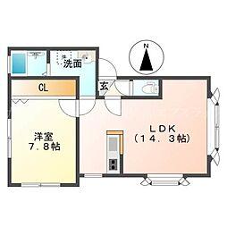北海道札幌市東区北四十一条東15の賃貸アパートの間取り