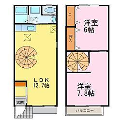 [テラスハウス] 愛知県常滑市飛香台5丁目 の賃貸【愛知県 / 常滑市】の間取り