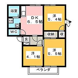 フレグランスふぁみーゆA・B[2階]の間取り