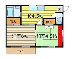 埼玉県富士見市水谷東3丁目の賃貸アパートの間取り