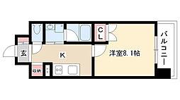 愛知県名古屋市熱田区八番2丁目の賃貸マンションの間取り