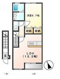 カーサミラソーレ[2階]の間取り