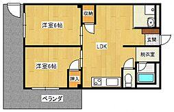 大阪府泉佐野市市場西2丁目の賃貸アパートの間取り