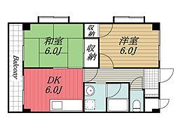 JR総武本線 四街道駅 徒歩19分の賃貸マンション 3階2DKの間取り
