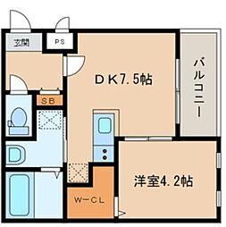 西鉄天神大牟田線 西鉄久留米駅 徒歩6分の賃貸アパート 3階1LDKの間取り