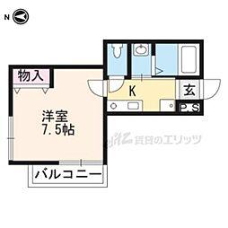 JR山陰本線 円町駅 徒歩1分の賃貸マンション 4階1Kの間取り