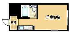 Osaka Metro谷町線 野江内代駅 徒歩9分の賃貸マンション 4階ワンルームの間取り