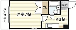 広島県広島市西区中広町3丁目の賃貸マンションの間取り