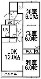 むつみパークマンション[2階]の間取り