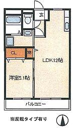 パークマンション旭駅前 2階1LDKの間取り