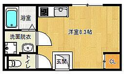 京福電気鉄道北野線 龍安寺駅 徒歩6分の賃貸アパート 2階1Kの間取り