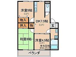 京都府宇治市小倉町新田島の賃貸アパートの間取り