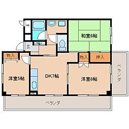奈良県奈良市富雄元町3丁目の賃貸マンションの間取り