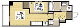 岡山電気軌道清輝橋線 東中央町駅 徒歩6分の賃貸マンション 4階1LDKの間取り