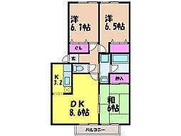 愛媛県松山市北井門5丁目の賃貸アパートの間取り