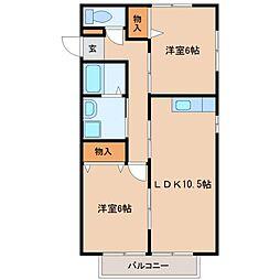 グロワールA棟[2階]の間取り