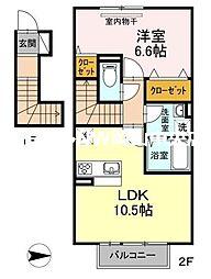 岡山県岡山市南区新福1丁目の賃貸アパートの間取り