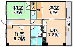 兵庫県伊丹市荻野4丁目の賃貸マンションの間取り