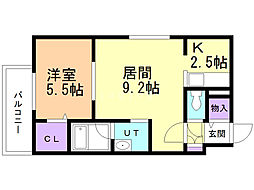 CoCo'sII(ココスII) 2階1LDKの間取り