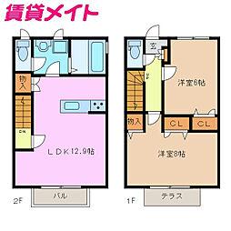 近鉄名古屋線 千代崎駅 徒歩17分の賃貸テラスハウス 2階2LDKの間取り