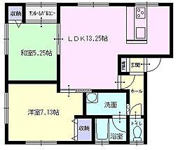 秋田県横手市赤坂字伏山の賃貸アパートの間取り