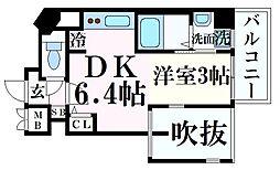 JR東海道・山陽本線 三ノ宮駅 徒歩7分の賃貸マンション 5階1DKの間取り