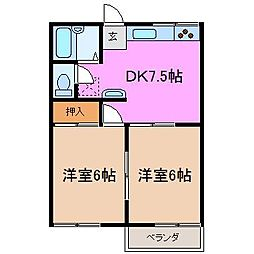宝野ハイツ[2階]の間取り