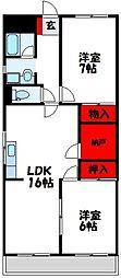 福岡県宗像市赤間駅前1丁目の賃貸マンションの間取り