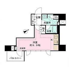 東京メトロ日比谷線 神谷町駅 徒歩9分の賃貸マンション 13階ワンルームの間取り