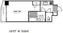 ファステート神戸アモーレ 3階1Kの間取り