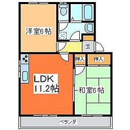広島県東広島市八本松東6丁目の賃貸アパートの間取り