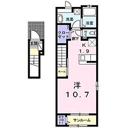 JR山形新幹線 山形駅 バス8分 あこや町下車 徒歩3分の賃貸アパート 2階1Kの間取り