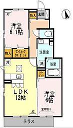 愛媛県伊予郡松前町大字筒井の賃貸アパートの間取り