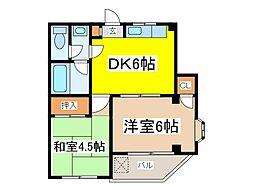 ローズマンション白糸台第二[2階]の間取り